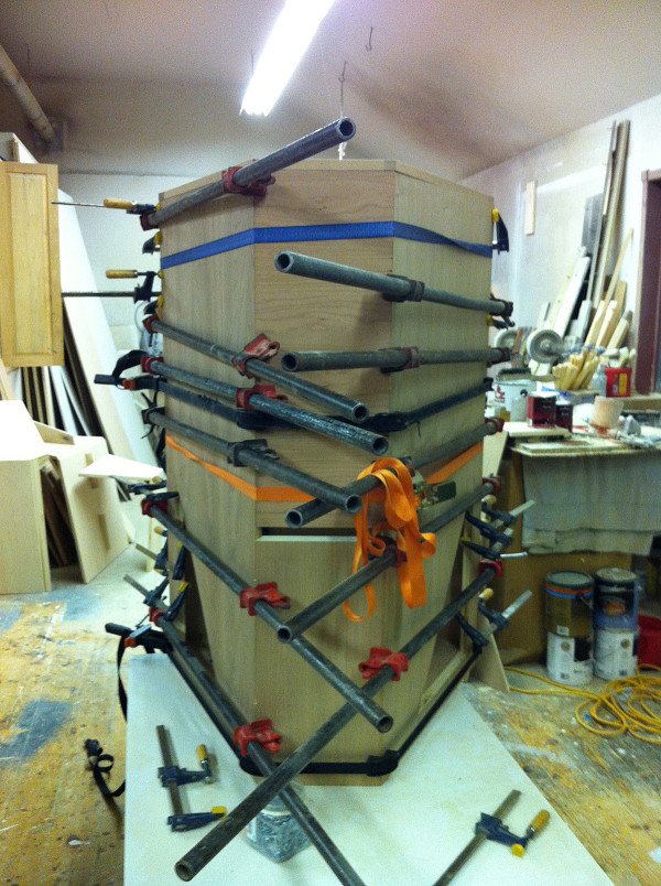 Pipe clamps and ratchet straps for a tricky glue up